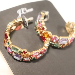 J.Crew Crystal Cluster Hoop Earrings